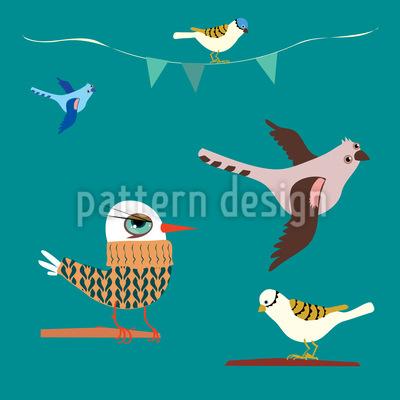 Vogel Geschichte Vektor Muster