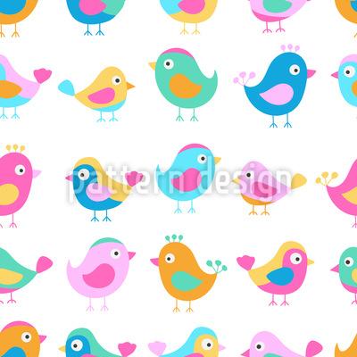 Vögel In Der Krabbelstube Nahtloses Muster