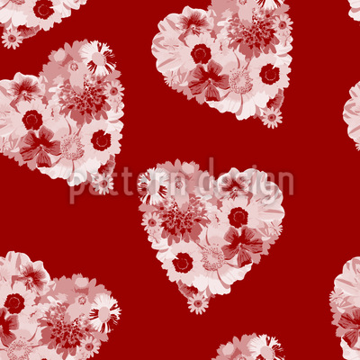Floral Bouquet With Heart Seamless Vector Pattern