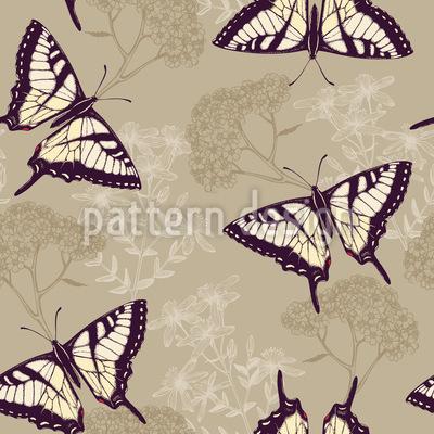 Herbs And Butterflies Pattern Design