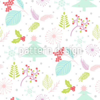 Nature In Winter Seamless Vector Pattern Design