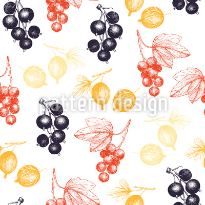 Red And Black Currant Seamless Vector Pattern Design