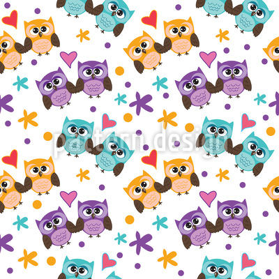 Owls In Love Vector Ornament