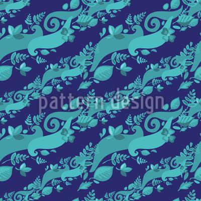 Blätter Auf Wellen Nahtloses Muster