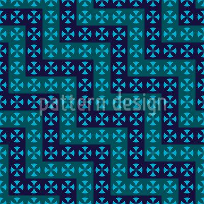 Crossing Waves Seamless Vector Pattern