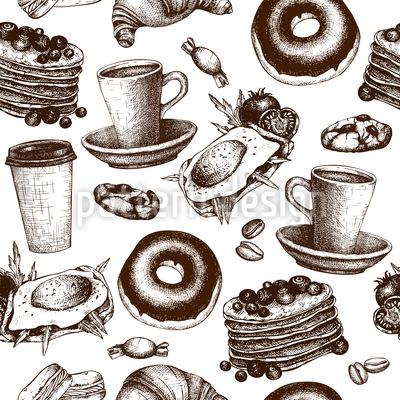 Frühstückskarte Nahtloses Muster