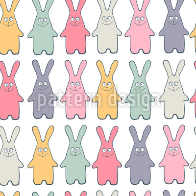 Funny Lucky Bunny Seamless Vector Pattern Design