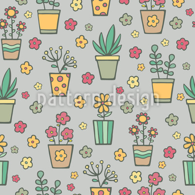 Potted Plants And Flowers Seamless Vector Pattern