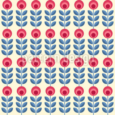 Scandinavian Roses Seamless Vector Pattern Design