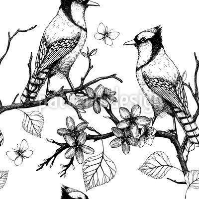 Vögel auf Zweigen Rapportmuster