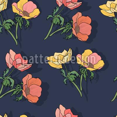 Hübsche Anemonen Muster Design