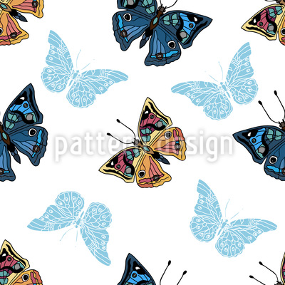 Butterflies In My Garden Vector Pattern
