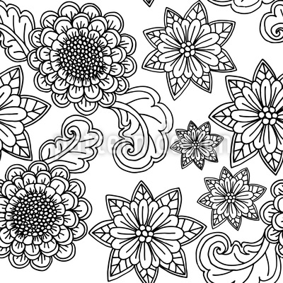 Flowers With Contours Seamless Vector Pattern Design