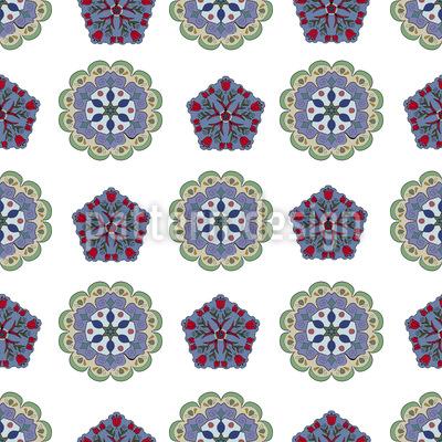 Kristall Und Floral Musterdesign