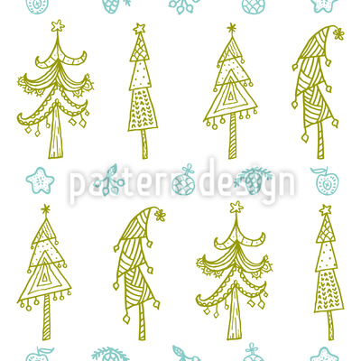 Ornamental Trees Vector Pattern
