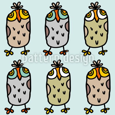 Owls In A Row Seamless Vector Pattern Design