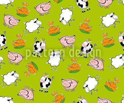 Tiere vom Bauernhof Nahtloses Muster