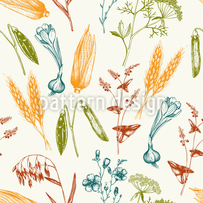 Vintage Harvest Vector Pattern