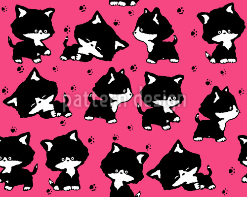 Cute Kitten Seamless Pattern