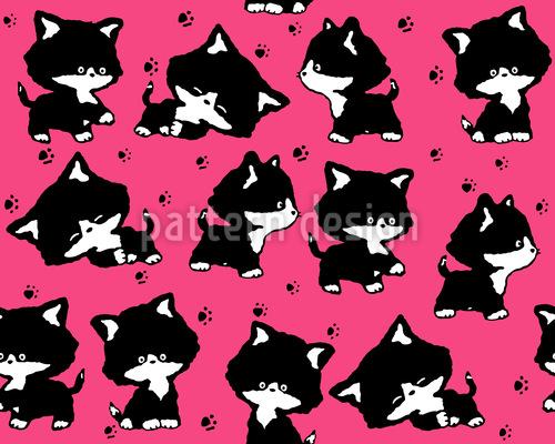 Niedliche Kätzchen Nahtloses Muster