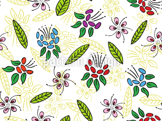 Exotic Florets Repeating Pattern