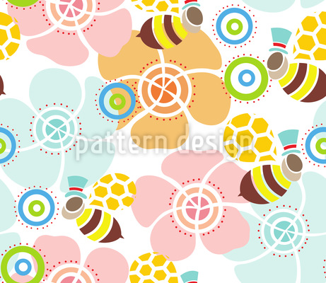 A Bees View Of The World Repeat Pattern