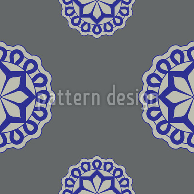 Flower Emblem Seamless Vector Pattern
