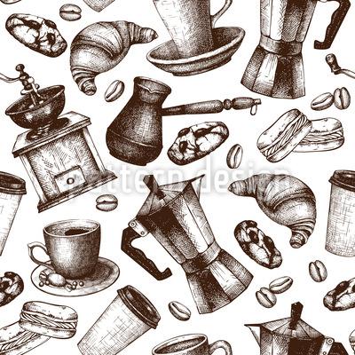 Vintage Kaffee Vektor Muster