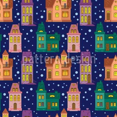 Town At Night Seamless Pattern