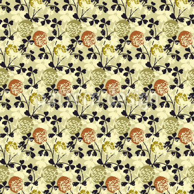 Blooming Clover Seamless Vector Pattern Design