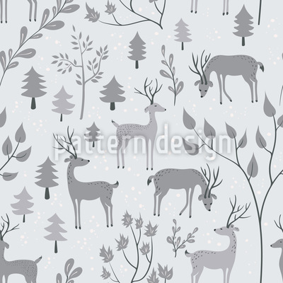 Deer in Winter Forest Seamless Vector Pattern Design
