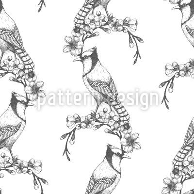 Vintage Woodpecker Seamless Pattern