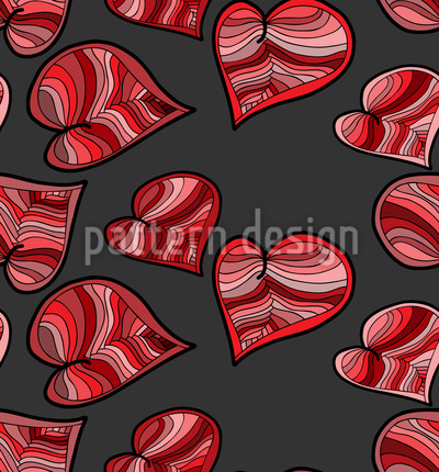 Doodle Hearts Seamless Vector Pattern
