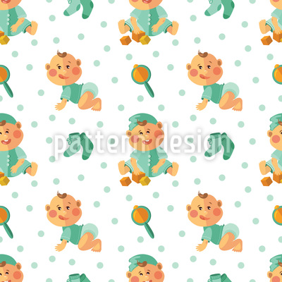 Baby Boy And Toy Seamless Vector Pattern