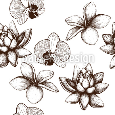 Vintage Exotic Plants Seamless Vector Pattern Design