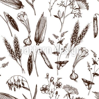 Vintage Pflanzen Musterdesign