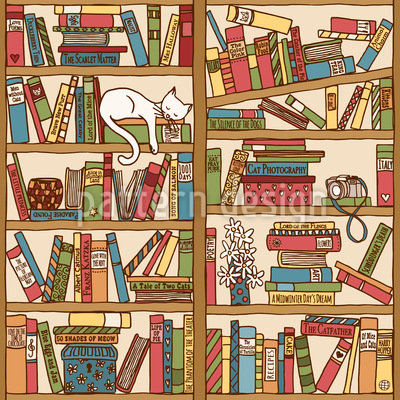 Asleep Between Books Seamless Vector Pattern Design