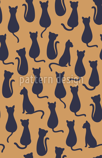 Cat Silhouettes Seamless Vector Pattern Design