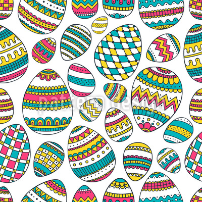Decorated Eggs Seamless Vector Pattern Design