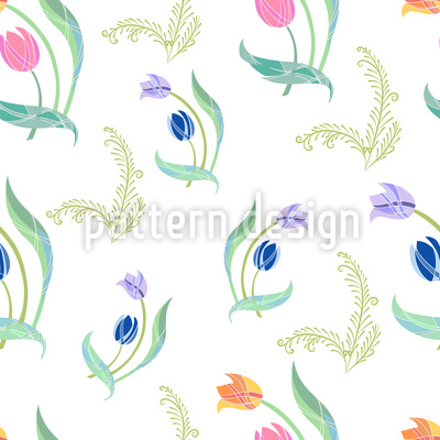 Delicate Tulips Vector Pattern