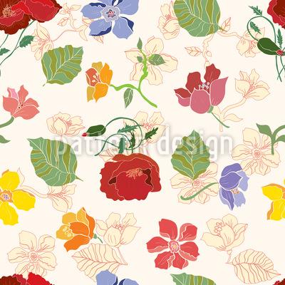 Garten Blumen Nahtloses Muster