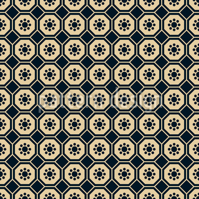 Chinese Flower Hexagon Seamless Pattern