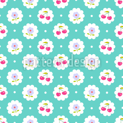 Vintage Cherries Seamless Vector Pattern Design