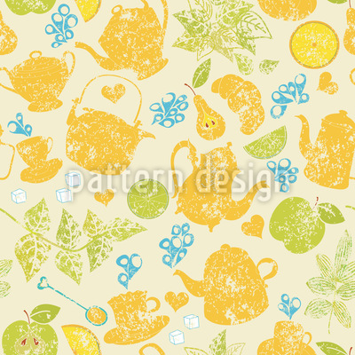 Tea Time In The Garden Vector Pattern