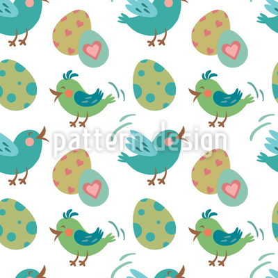 Sweet Easter eggs and birds  Seamless Pattern