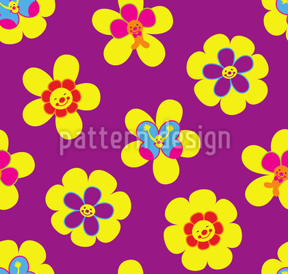 Friendly Flowers Vector Pattern