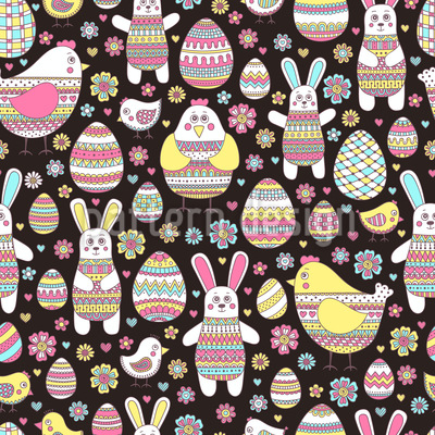 Easter Friends Seamless Vector Pattern Design