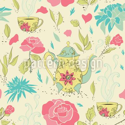 Tee-Party Im Garten Nahtloses Vektormuster