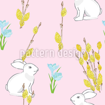 Easter Bunny And Flowering Willow Repeating Pattern