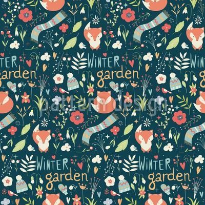 Fuchs Im Winterlichen Garten Rapportiertes Design